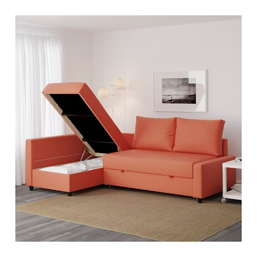 Friheten Corner Sofa Bed With Storage Skiftebo Dark Orange Ikea well with Orange IKEA Sofas (Image 7 of 20)