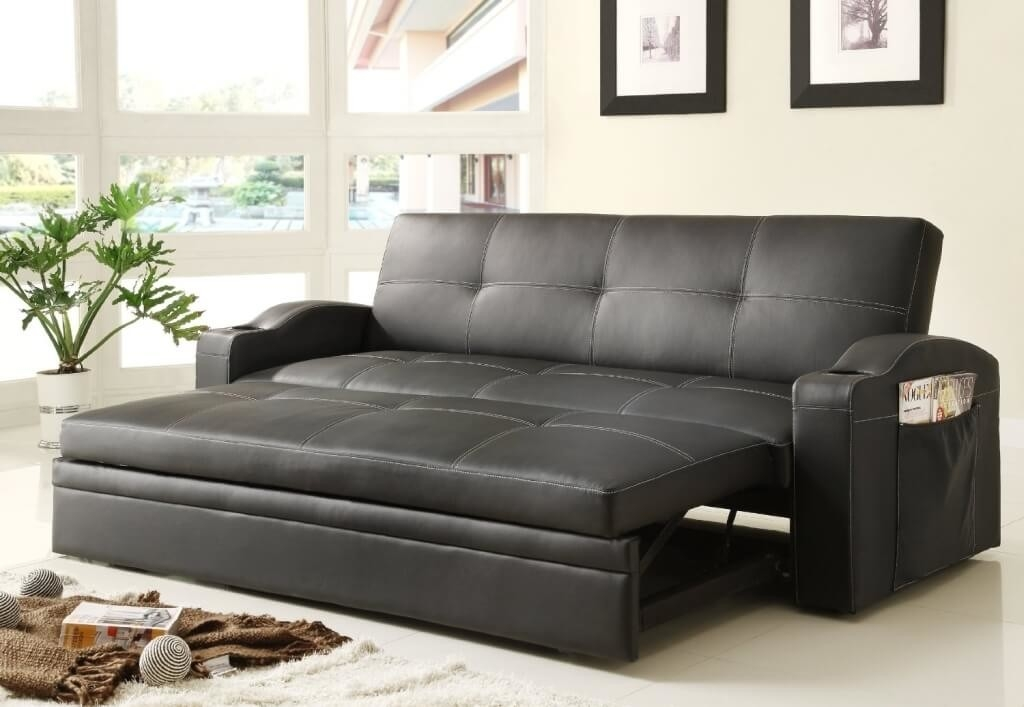 Furniture Black Leather Convertible Sofa Bed For Living Room Well In Sofa Convertibles (View 10 of 20)