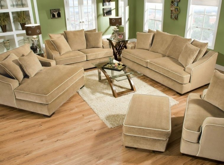 Furniture Cream Upholstered Oversized Deep Sectional Sofa With properly intended for Wide Sofa Chairs (Image 16 of 20)