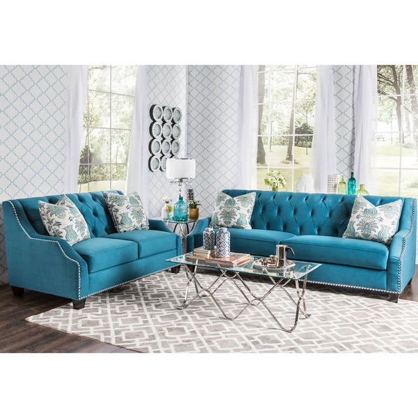Furniture Of America Elsira Premium Velvet 2 Piece Cerulean Blue well regarding Blue Sofa Chairs (Image 14 of 20)