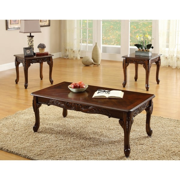 Furniture Of America Mariefey Classic 3 Piece Coffee And End Table very well with regard to Cherry Wood Coffee Table Sets (Image 17 of 20)