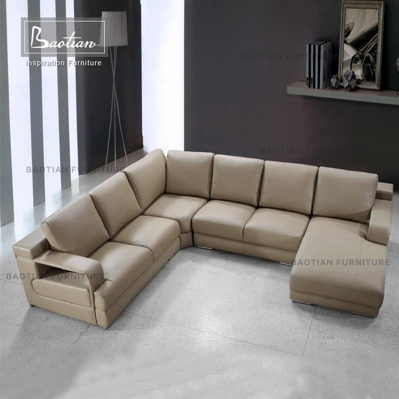 Genuine Leather U Shaped Sectional Sofa Genuine Leather U Shaped good inside C Shaped Sofas (Image 11 of 20)