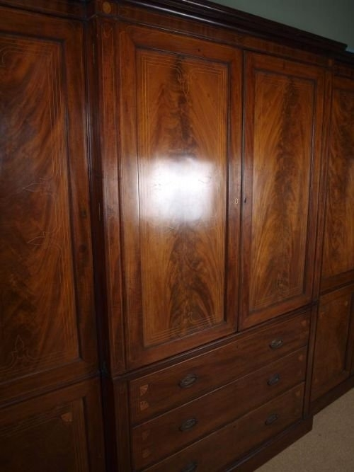 Georgian Mahogany Inlaid Breakfront Wardrobe 83935 perfectly pertaining to Antique Breakfront Wardrobe (Image 29 of 30)
