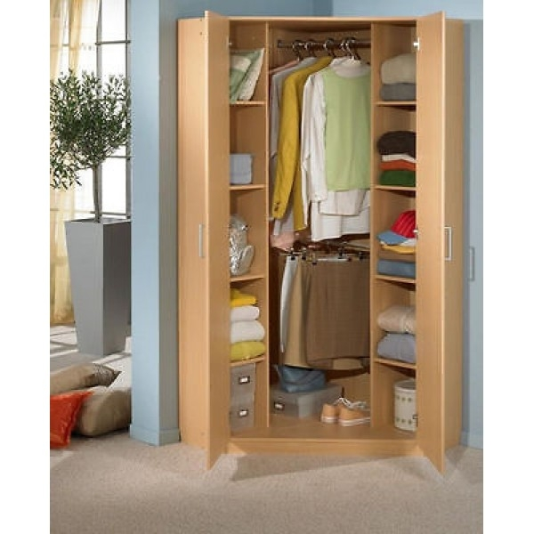 German 2 Door 95cm Oak Corner Wardrobe With Double Hanging Shelves effectively inside Wardrobe Double Hanging Rail (Image 12 of 20)