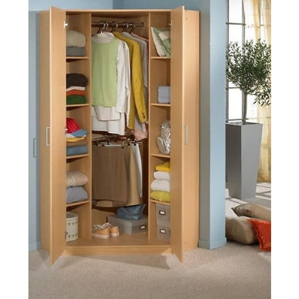 German 2 Door 95cm Oak Corner Wardrobe With Double Hanging Shelves well inside Double Rail Oak Wardrobes (Image 6 of 30)
