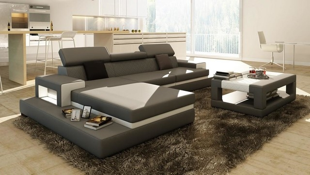 Gray Sectional Sofa With Coffee Table Modern Living Room Los Certainly Within Coffee Table For Sectional Sofa (View 13 of 20)