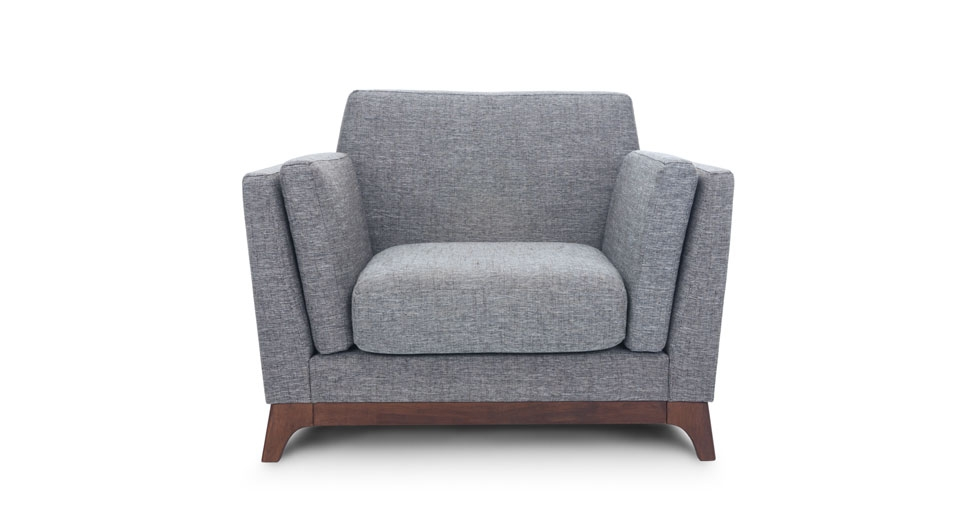 Gray Sofa 3 Seater With Solid Wood Legs Article Ceni Modern definitely pertaining to Sofa Arm Chairs (Image 14 of 20)