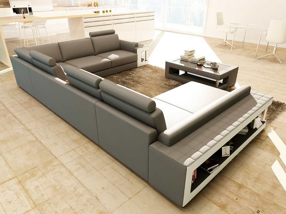 Grey And White Leather Sectional Sofa With Coffee Table Vg080 Properly For Coffee Table For Sectional Sofa (View 14 of 20)