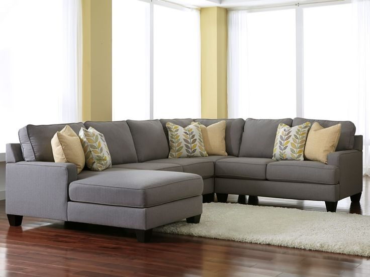Grey Sectionals With Chaise Chamberly Alloy 4 Piece Modular effectively in Gray Leather Sectional Sofas (Image 8 of 20)