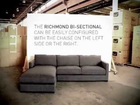 Gus Modern Richmond Bi Sectional Modular Sofa Youtube properly pertaining to Bisectional Sofa (Image 10 of 20)