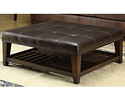 Hand Finished Leather Ottoman Coffee Table Footrest Seating Bench clearly intended for Coffee Table Footrests (Image 10 of 20)