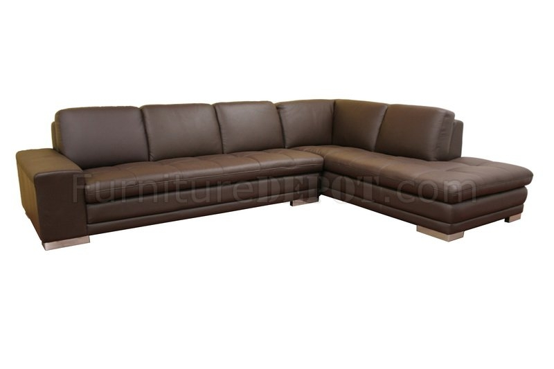 Handsome Diana Dark Brown Leather Sectional Sofa Set Std15 very well inside Diana Dark Brown Leather Sectional Sofa Set (Image 17 of 20)