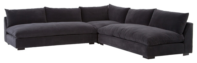Hanz Modern Black Armless Sectional Sofa Contemporary definitely in Armless Sectional Sofas (Image 11 of 20)