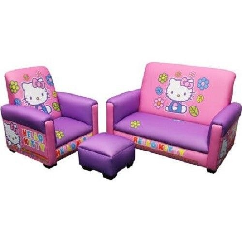 Hello Kitty Toddler Sofa Chair Set 3 Piece Pink Furniture Girls nicely inside Toddler Sofa Chairs (Image 13 of 20)