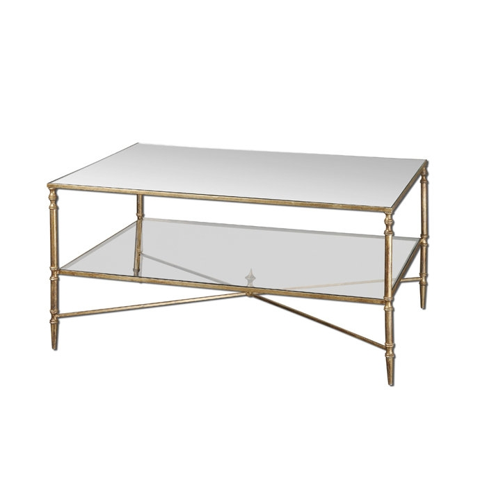 Henzler Metal Frame Glass Top Coffee Table W Tempered Glass good with regard to Metal And Glass Coffee Tables (Image 11 of 20)