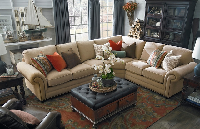 Hgtv Home Custom Upholstery Large L Shaped Sectional Bassett perfectly with Bassett Sectional Sofa (Image 12 of 20)