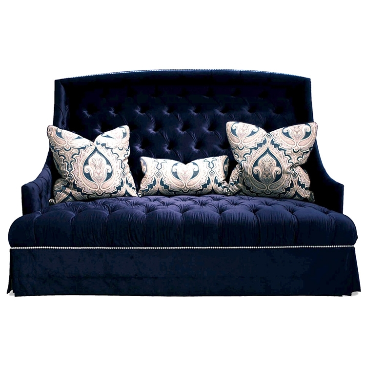 Hollywood Regency Sofa Navy Blue Tufted Haute House Home most certainly with Blue Tufted Sofas (Image 11 of 20)