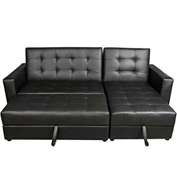 Homcom Deluxe Faux Leather Corner Sofa Bed Storage Sofabed Couch perfectly inside Leather Corner Sofa Bed (Image 10 of 20)