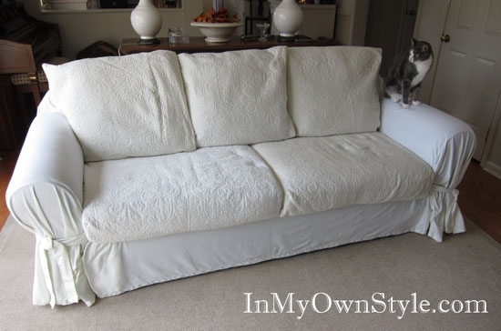 How To Cover A Chair Or Sofa With A Loose Fit Slipcover In My clearly inside Slipcovers For Chairs And Sofas (Image 12 of 20)