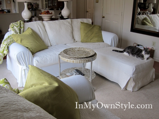 How To Cover A Chair Or Sofa With A Loose Fit Slipcover In My properly in Slipcovers for Chairs and Sofas (Image 14 of 20)