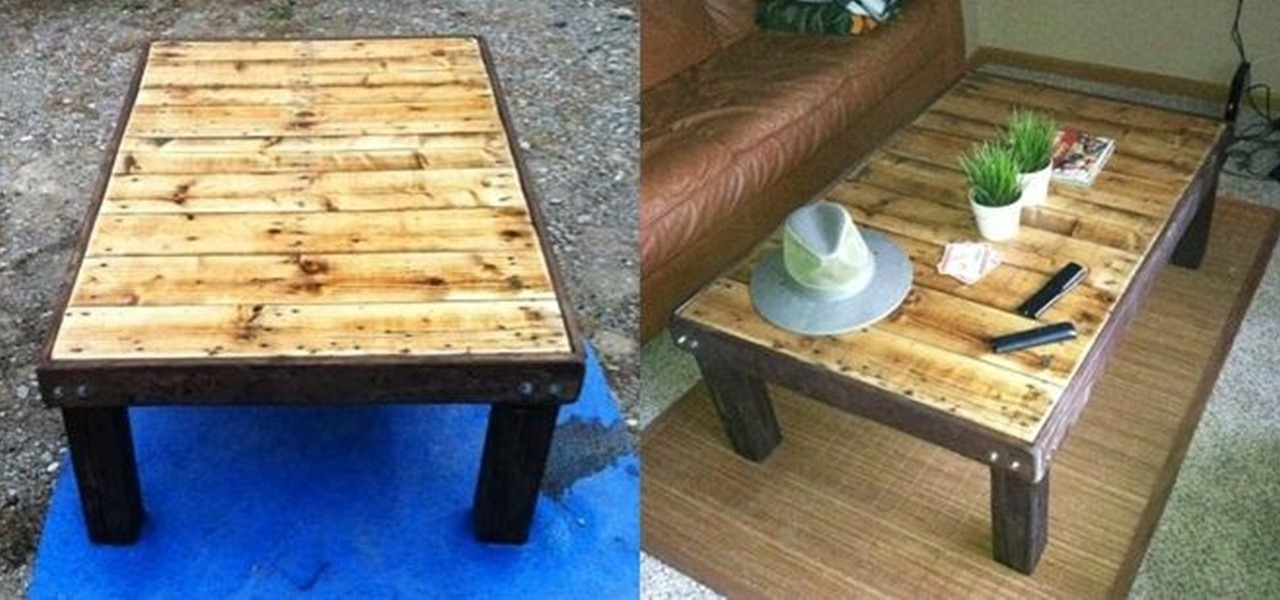 How To Make A Super Cheap Coffee Stained Wood Pallet Coffee Table very well within Cheap Wood Coffee Tables (Image 18 of 20)