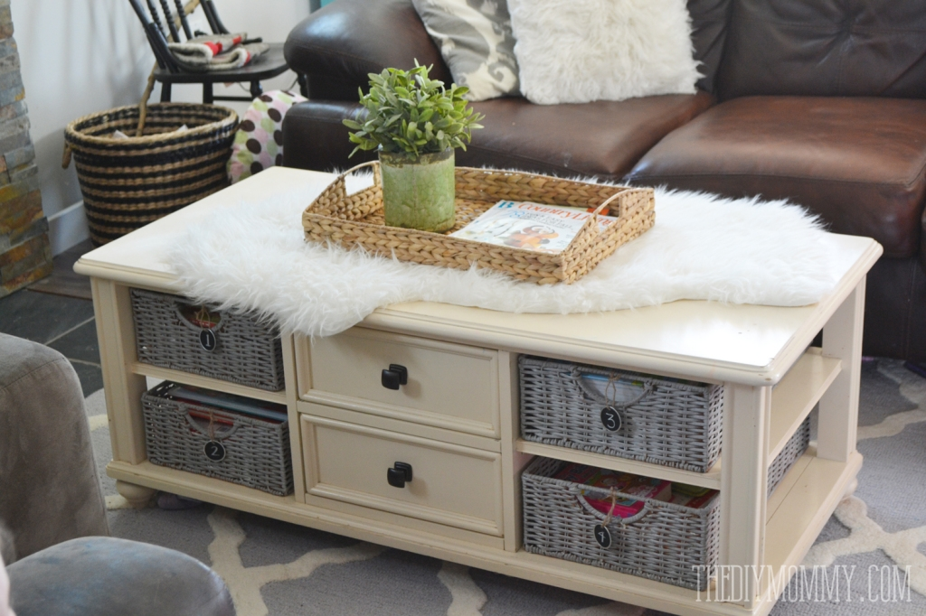 How To Paint Wicker Baskets With Chalk Paint A Coffee Table most certainly intended for Coffee Table With Wicker Basket Storage (Image 17 of 20)