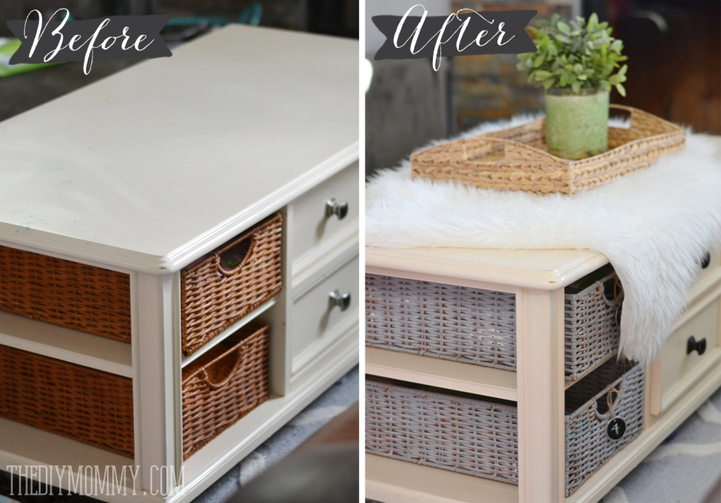 How To Paint Wicker Baskets With Chalk Paint A Coffee Table Well Throughout Coffee Table With Wicker Basket Storage (View 18 of 20)
