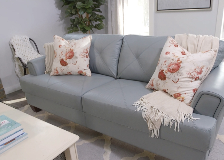 How To Style A Sofa In A Statement Colour For Spring Video The definitely pertaining to Brick Sofas (Image 9 of 20)