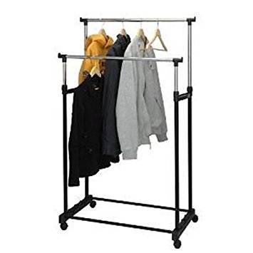 Hyfive Portable Double Clothes Rail On Wheels With Shoe Shelf And clearly for Double Clothes Rail Wardrobes (Image 4 of 20)