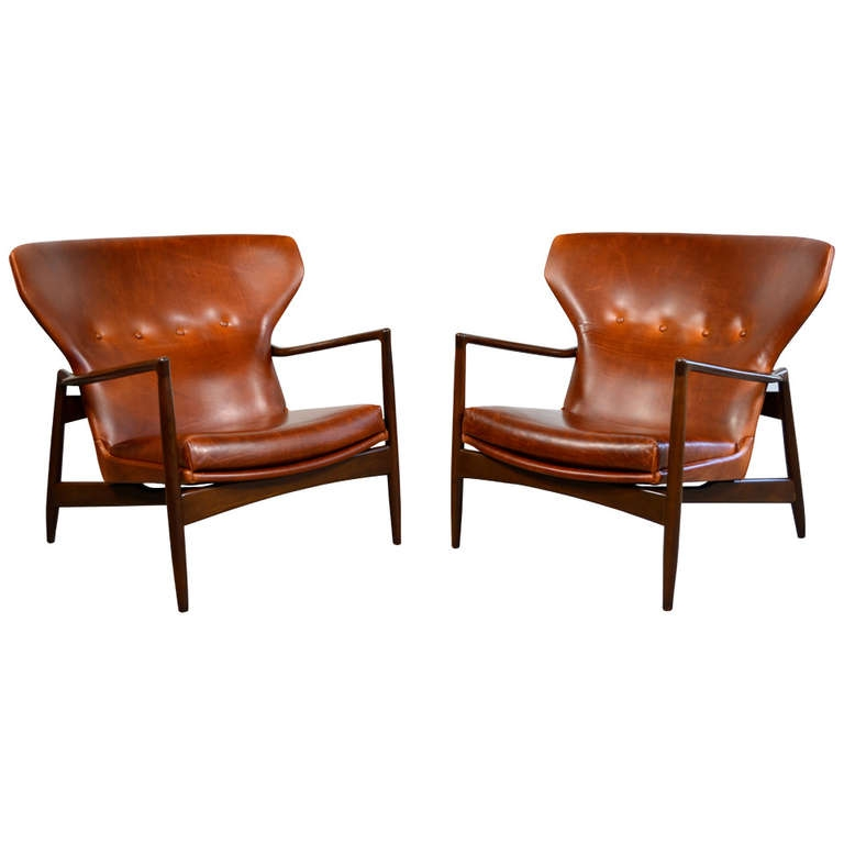 Ib Kofod Larsen Pair Of Danish Modern Leather Lounge Chairs From Clearly Inside Lounge Sofas And Chairs (View 2 of 20)