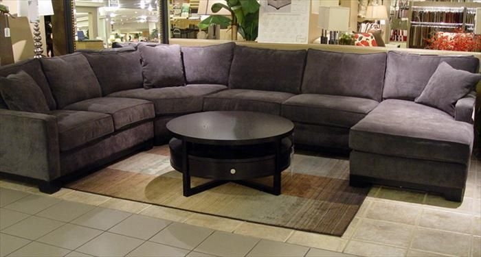 Im Loving This Big Grey Sectional With Dark Wood Plum And certainly in Eggplant Sectional Sofa (Image 5 of 20)