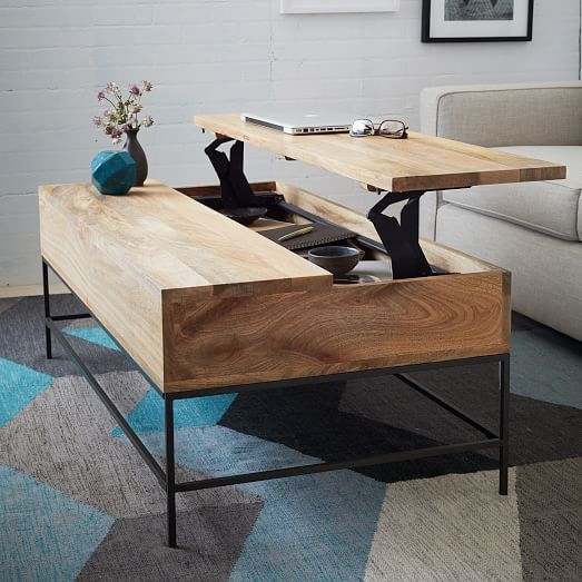 Industrial Storage Coffee Table West Elm most certainly regarding Desk Coffee Tables (Image 17 of 20)