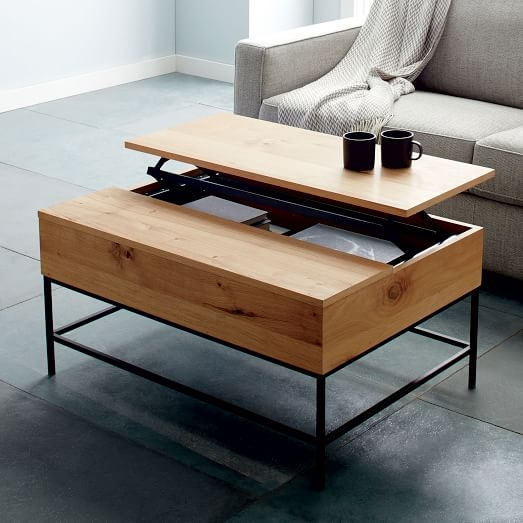 Industrial Storage Coffee Table West Elm properly throughout Desk Coffee Tables (Image 18 of 20)