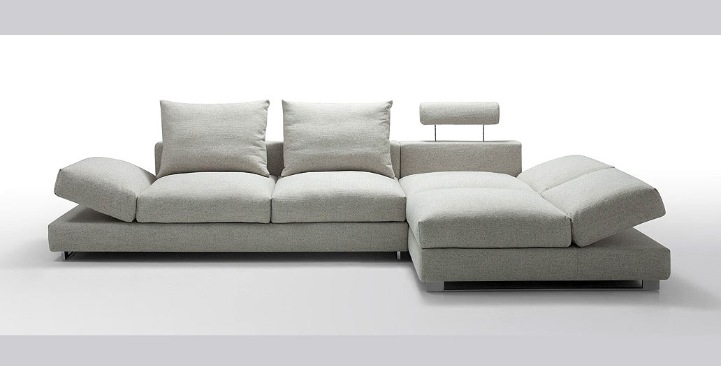 Irma Modern Light Fabric Sectional Sofa Fabric Sectional Sofas nicely throughout Cloth Sectional Sofas (Image 8 of 20)