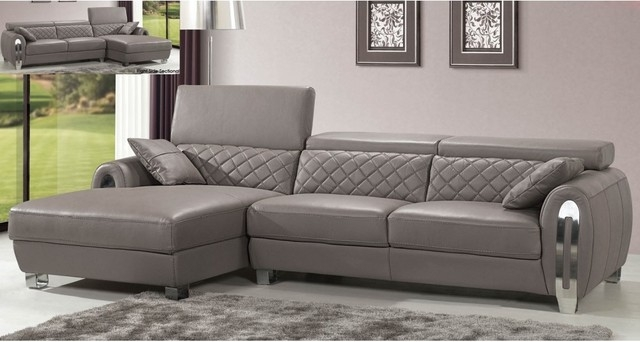 Italian Gray Leather Sectional Sofa Modern Design Modern nicely in Gray Leather Sectional Sofas (Image 9 of 20)