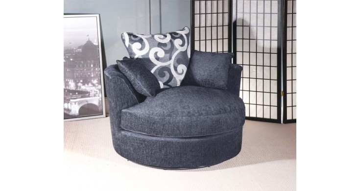 Jackson Grey Chenille Fabric Corner Sofa clearly inside Corner Sofa and Swivel Chairs (Image 15 of 20)