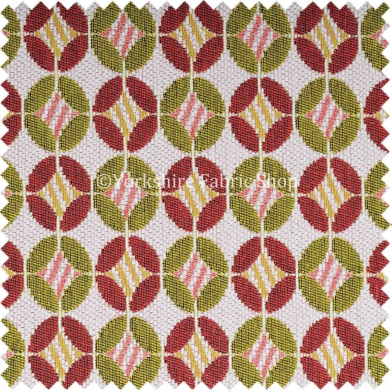 Jacquard Woven Chenille White Pink Green Small Moroccan Pattern good regarding Upholstery Fabric Sofas (Image 8 of 20)