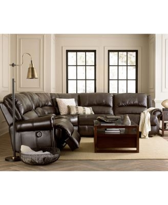 Jaxen Leather 6 Piece Sectional With 3 Power Recliners Furniture effectively intended for 6 Piece Leather Sectional Sofa (Image 5 of 20)