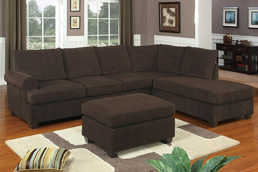 Joela Corduroy Sectional Sofa effectively regarding Chocolate Brown Sectional Sofa (Image 17 of 20)