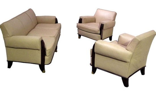 Jules Leleu French Art Deco Sofa Two Armchairs Modernism Gallery definitely with regard to Art Deco Sofa And Chairs (Image 14 of 20)