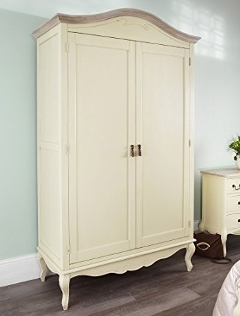 Juliette Shab Chic Champagne Double Wardrobe Stunning Large effectively pertaining to Large Double Rail Wardrobes (Image 3 of 30)