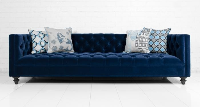 Just Acquired An 8 Ft Tuxedo Couch Thinking About Having It very well intended for Blue Tufted Sofas (Image 12 of 20)
