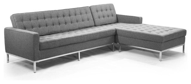 Kardiel Midcentury Modern Florence Right Sectional Modern well inside Florence Sofas (Image 16 of 20)