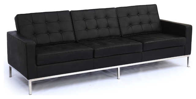 Kardiel Midcentury Modern Florence Sofa 3 Seat Genuine Leather effectively within Florence Sofas (Image 18 of 20)