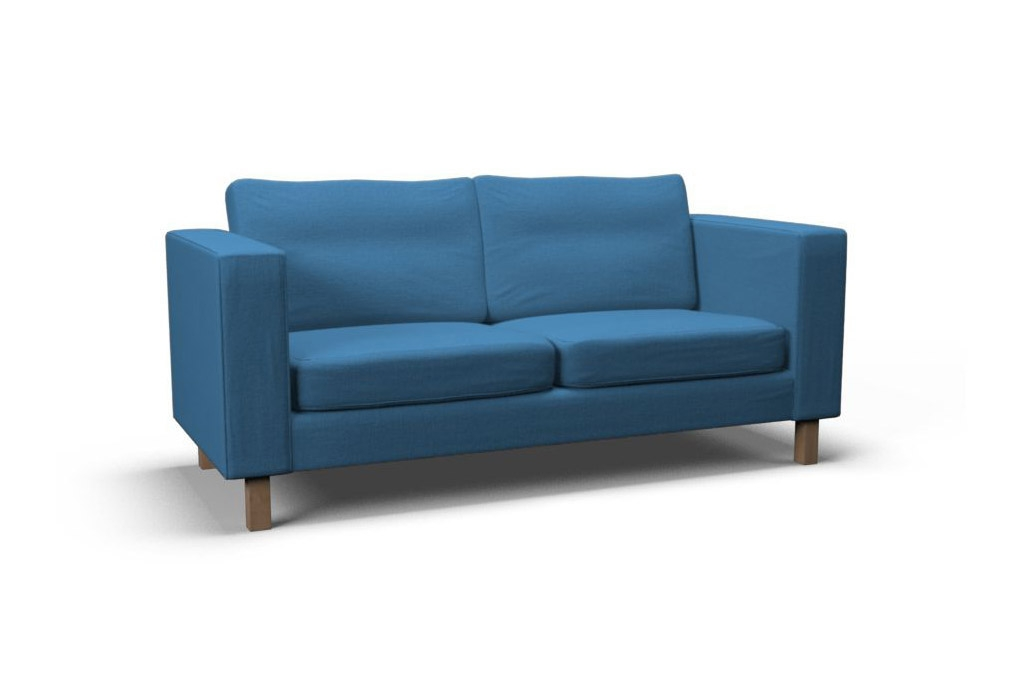 Karlstad Two Seat Sofa Cover Gaja Pacific Blue Covercouch Certainly For IKEA Two Seater Sofas (View 9 of 20)
