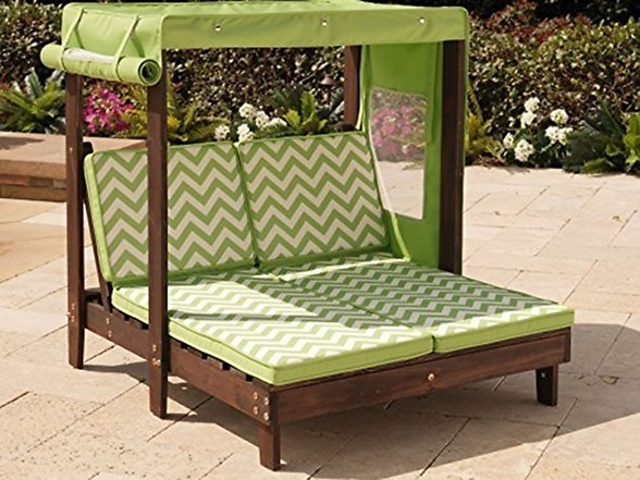 Kidkraft Outdoor Double Chaise Lounge Chair With Canopy 184 Diy most certainly inside Outdoor Sofas With Canopy (Image 13 of 20)