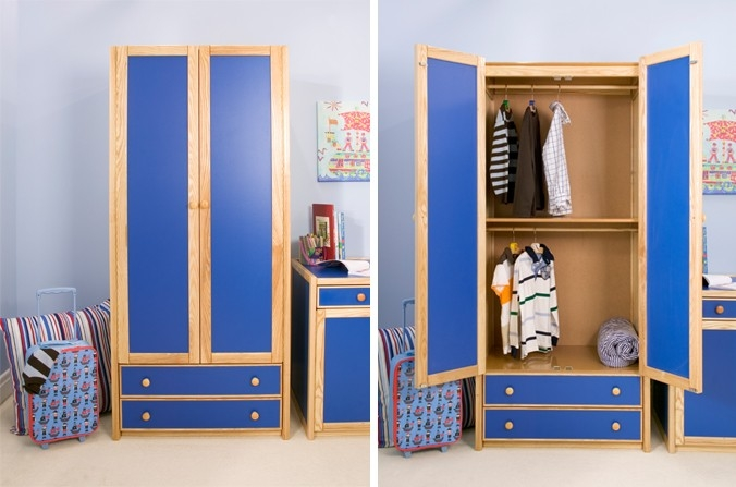 Kids Double Combi Wardrobe Also Available In White Natural Ash good regarding Childrens Wardrobes With Drawers and Shelves (Image 11 of 30)