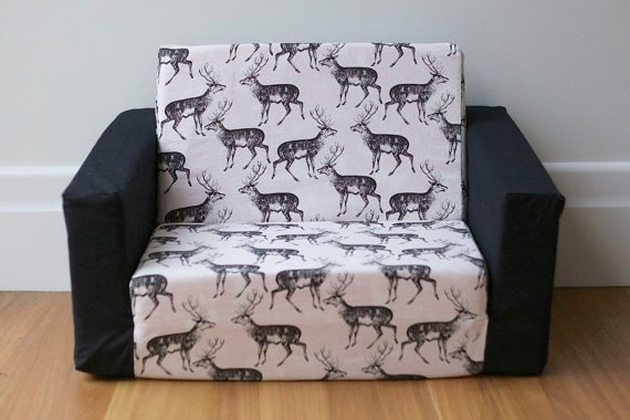 Kids Flip Out Sofa Cover Black On White Deer Print With Black well in Flip Out Sofa For Kids (Image 7 of 20)