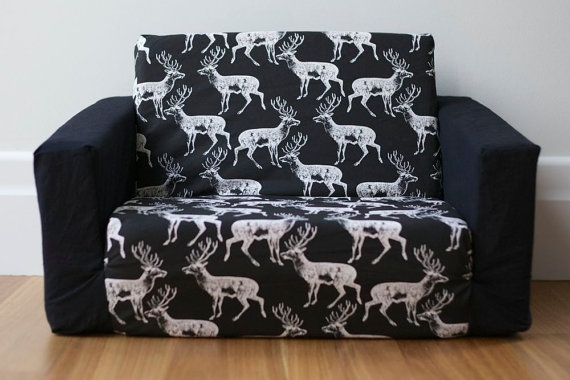 Kids Flip Out Sofa Cover White Deer On Black Print With Your very well regarding Flip Out Sofa for Kids (Image 10 of 20)