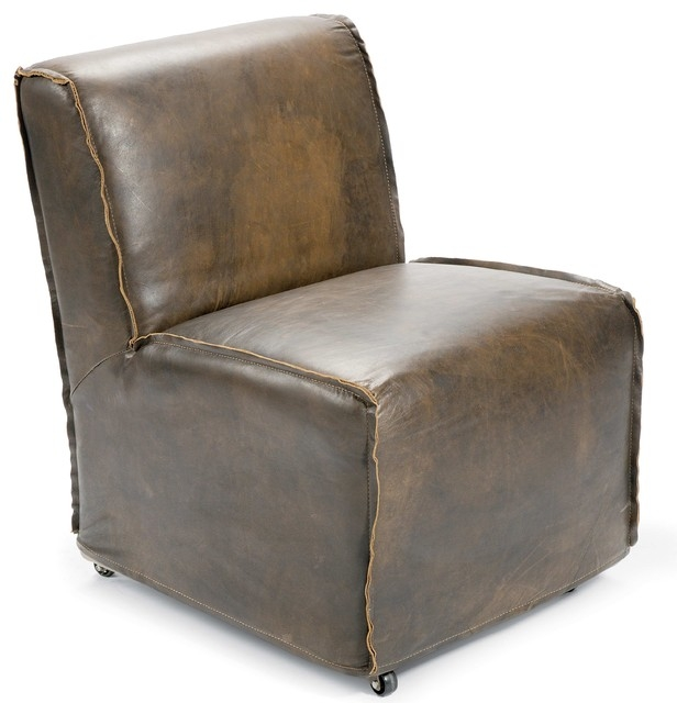 Kilgore Industrial Loft Vintage Leather Slipcover Rolling Chair definitely in Vintage Leather Armchairs (Image 10 of 20)